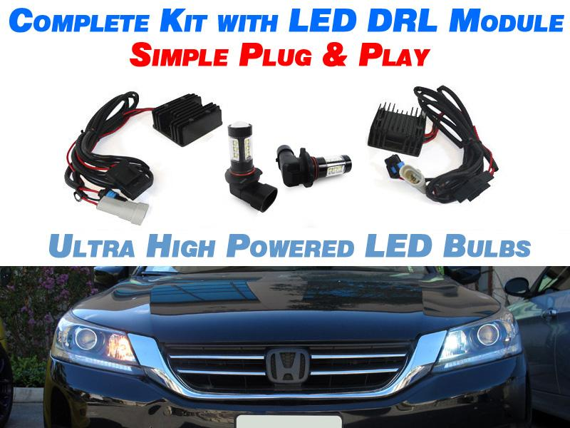 White Led Drl Kit With Decoder Module For 2007 2014 Acura Tl 09 14 Tsx 9005 Daytime Running Light Illuminate Your Presence Unique Style Racing