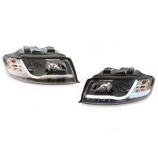 2002-2005 Audi A4 B6 / 03-05 S4 4D Sedan & 5D Wagon DEPO Halogen Model R8 LED Strip Projector Headlight
