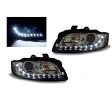 2002-2005 Audi A4 B6 / 03-05 S4 4D Sedan & 5D Wagon DEPO Xenon D1S Model R8 LED Strip Projector Headlight