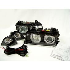 1992-1999 BMW E36 3 Series DEPO P36 Projector Angel Headlight Optional UHP LED Halo / Xenon HID
