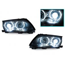 2002-2005 BMW 3 Series E46 4D/5D DEPO V3 F30 Style Square Bottom Angel Eye Halo U Rings White LED Halo Projector Headlight
