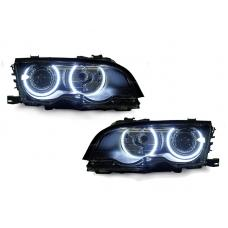 1999-2001 BMW 3 Series E46 4D Sedan / 5D Wagon DEPO Angel Eye Projector Headlight with Optional UHP LED Halo Rings / Xenon HID