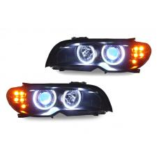 2004-2006 BMW 3 Series E46 2D Coupe/Cabrio DEPO V2 UHP LED Angel Halo Projector Headlight