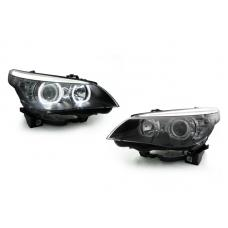 2004-2010 BMW 5 Series E60 / E61 DEPO Projector V3 F30 Style Square Bottom Angel Eye White LED Halo U Rings Projector Headlight For Factory Halogen Model