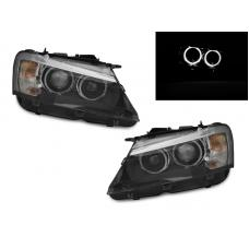 """2011-2014 BMW X3  Pre-LCI F25 Chassis DEPO OEM """"Xenon"""" Style White LED Angel Halo Projector Headlight For Halogen Model upgrade"""