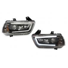 2011-2014 Dodge Charger LED Light Bar Black Xenon HID D3S Projector Headlight