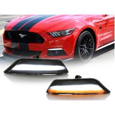 2015-2017 Ford Mustang USA Smoke White/Amber Sequential LED Bumper Turn Signal
