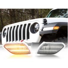 2018-2020 Jeep Wrangler JL Gladiator Clear or Smoke Dual Light Bar LED Side Marker Light