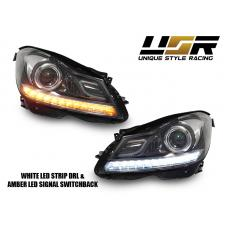 2012-2014 Mercedes Benz C Class W204 USR Edition Projector Headlight  with White LED Strip DRL and Switchback Amber LED Turn Signal for Halogen Model made by DEPO