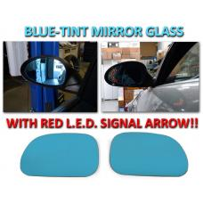 1998-2001 Mercedes M Class W163 Red Arrow LED Blue Glass Side Mirrors Upgrade