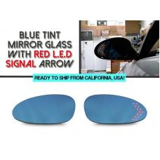 2006-2012 Porsche Cayman 987 Chassis Red Arrow LED Blue Glass Side Mirrors Upgrade