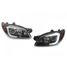 "2008-2011 Subaru Impreza / 2008-2014 Impreza WRX White ""C"" LED Light Bar Halogen OR Xenon D2S Model Projector Headlight"