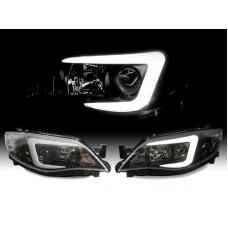 "2008-2011 Subaru Impreza / 2008-2014 Impreza WRX White ""C"" LED Light Bar Halogen OR Xenon D2S Model Projector Headlight with Clear Corner Reflector (USR Special Edition)"