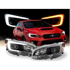 "2015-2019 Subaru WRX DEPO SWITCHBACK 500 Lumen ""C"" WHITE/AMBER LED Black Housing Projector Headlight For with Factory Halogen Models"