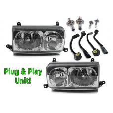 1991-1997 Toyota Land Cruiser FJ80 Euro Style Crystal Glass Lens Headlights w/ Optional US Spec Plug & Play Adapters
