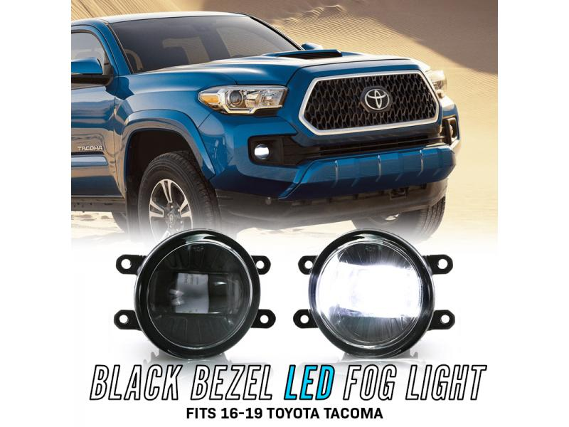 Clear Lens Fog Light Kit For 2016-2019 Toyota Tacoma w// BLACK Bezel Switch Wire