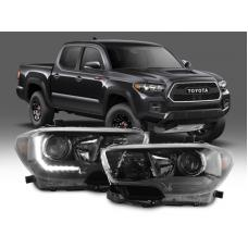 2016-2018 Toyota Tacoma LED DRL TRD Pro Style DEPO Black Projector Headlights For With or Without factory LED DRL models