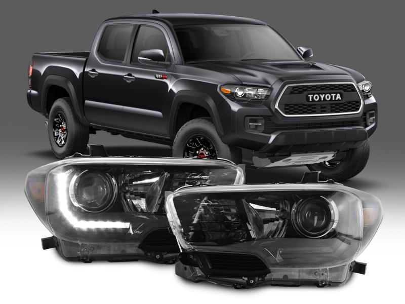 2016 2018 Toyota Tacoma Led Drl Trd Pro Style Depo Black Projector Headlights For With Or Without Factory Models