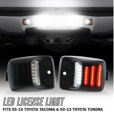 2005-2015 Toyota Tacoma / 2000-2013 Tundra 18 SMD Plug & Play Error Free LED License Plate Light with 3 RED Bars Assembly x2 Lamps A Set