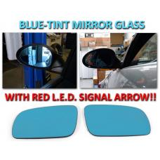 1999-2005 VW Jetta Mk.4 / Golf & GTI / 98-05 Passat B5 Chassis Red Arrow LED Blue Glass Side Mirrors Upgrade
